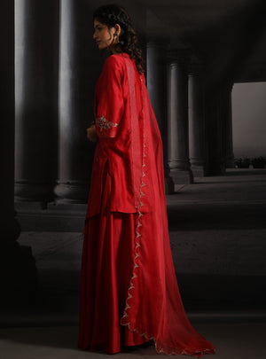 Anju Modi-Red Asymmetrical Embroidered Kurta Set-INDIASPOPUP.COM