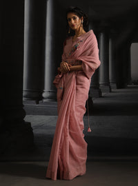 Anju Modi-Blush Embroidered Saree Set With Belt-INDIASPOPUP.COM