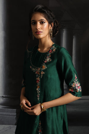 Anju Modi-Emerald Green Dress With Jacket & Dupatta-INDIASPOPUP.COM