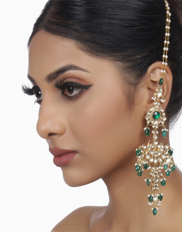 Green Aradhya Magar Earring