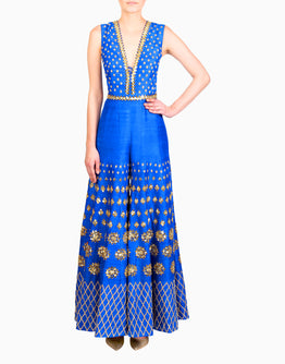PAPA DON'T PREACH BY SHUBHIKA ELECTRIC BLUE EMBELLISHED JUMPSUIT