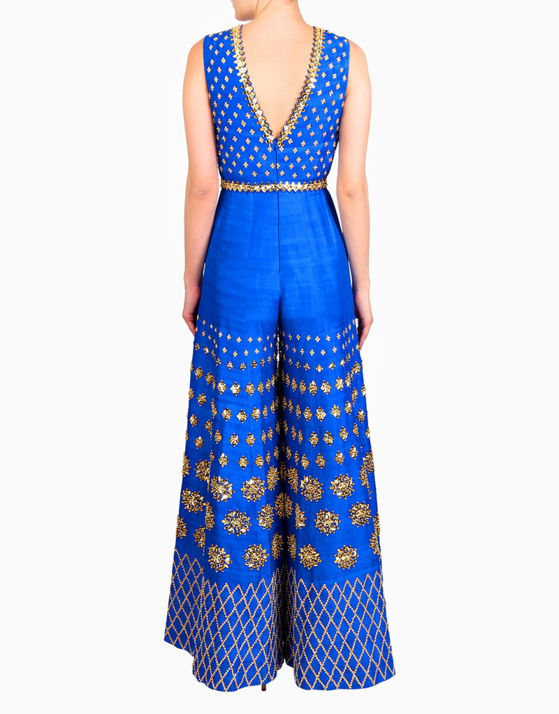 Papa Don't Preach By Shubhika - Electric Blue Embellished Jumpsuit - INDIASPOPUP.COM