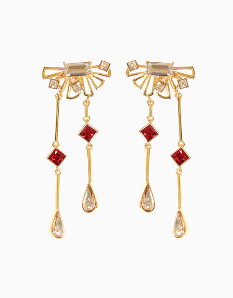 Esme-Gold & Red Waltz Earring-INDIASPOPUP.COM