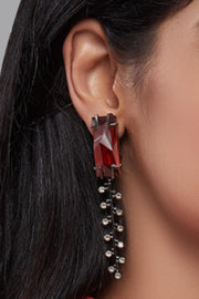 Esme - Red & Black Metal Dangler Zip Earrings - INDIASPOPUP.COM