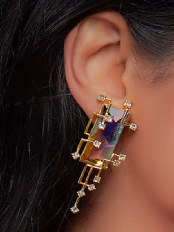 Esme - Multicolor In Yellow Long Ear Studs - INDIASPOPUP.COM