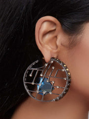 Esme - Blue & Black Metal Hoops - INDIASPOPUP.COM