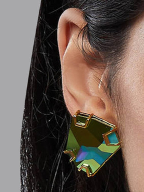 Esme - Green & Yellow Metal Ear Studs - INDIASPOPUP.COM