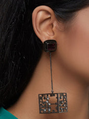 Esme - Purple In Black Dangler Earrings - INDIASPOPUP.COM