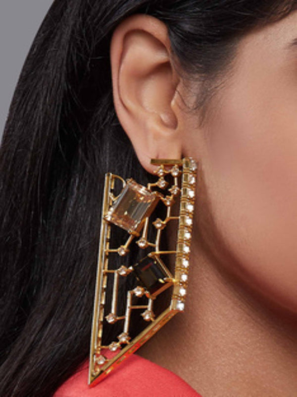 Esme - Brown & Yellow Dangler Earrings - INDIASPOPUP.COM