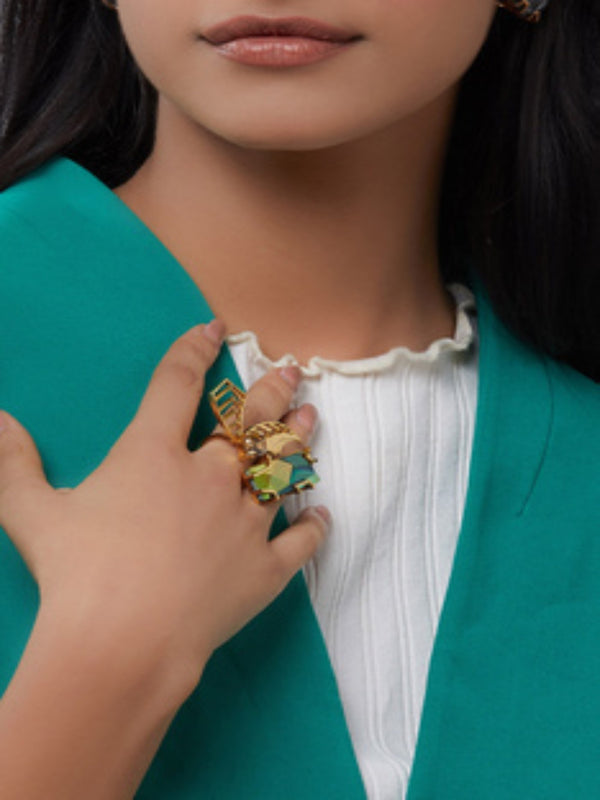 Esme - Green & Yellow Cocktail Ring - INDIASPOPUP.COM