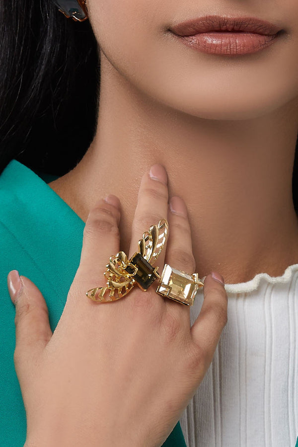 Esme - Yellow Gold Metal Cocktail Ring - INDIASPOPUP.COM