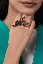 Esme - Black Metal Cocktail Ring - INDIASPOPUP.COM