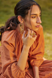 Esme - Red & Yellow Metal Ring - INDIASPOPUP.COM