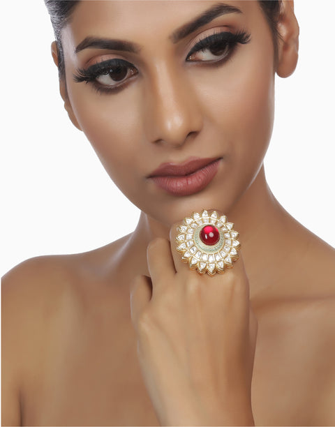 Red Vagishwari Meena Ring