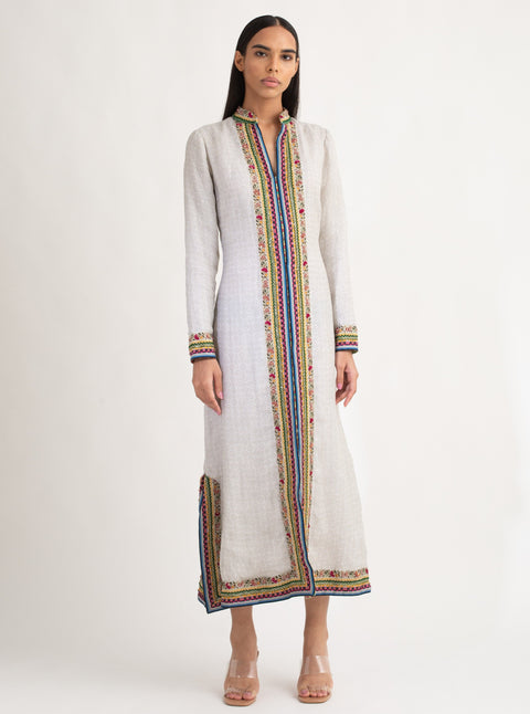 La Fuori-White Embroidered Long Kaftan-INDIASPOPUP.COM