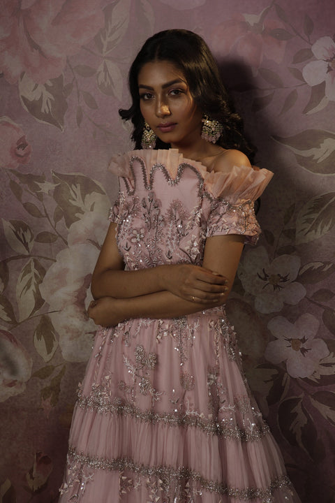 Bindani By Jigar And Nikita-Powder Pink Alizeh Cocktail Gown.-INDIASPOPUP.COM