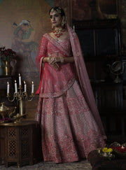 Bindani By Jigar And Nikita-Peach Pink Shringara Bridal Lehenga-INDIASPOPUP.COM