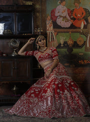 Bindani By Jigar And Nikita-Red Shringara Bridal Lehenga-INDIASPOPUP.COM
