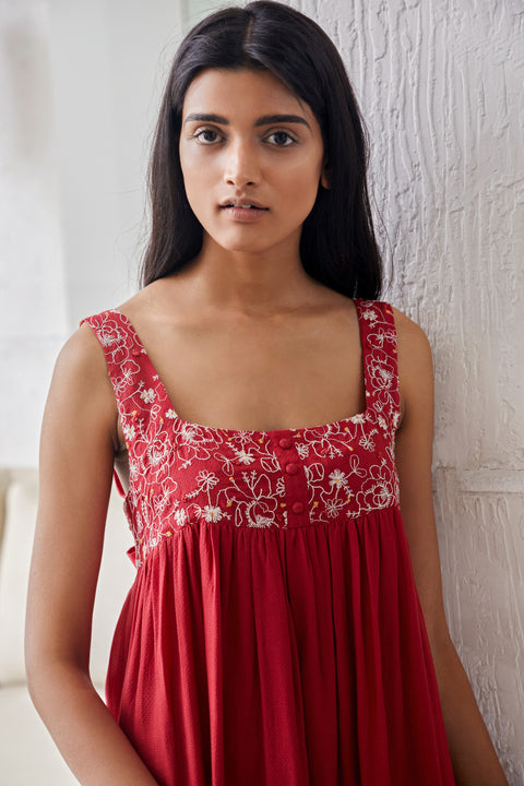 Gur-Red Embroidered Gathered Dress-INDIASPOPUP.COM