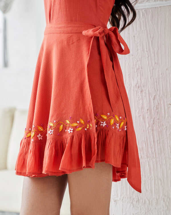 Gur-Rust Orange Wrap Mini Skirt-INDIASPOPUP.COM