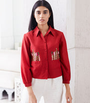 Gur-Red Embroidered Shirt-INDIASPOPUP.COM