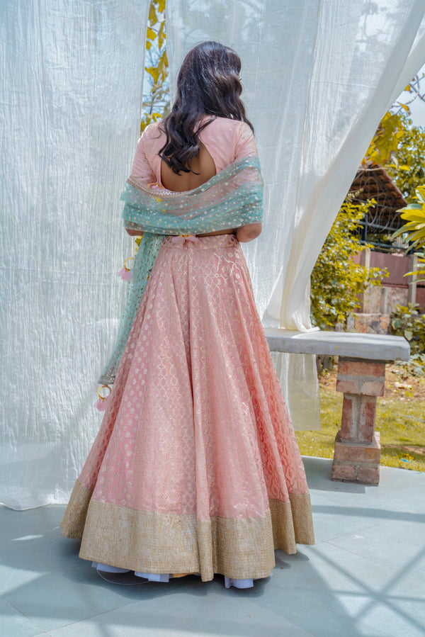 Peach & Ocean Blue Lehenga Set