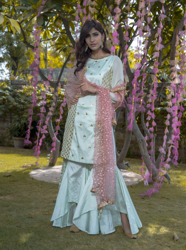 Mint green & Pink Kurta With High-Low Pants