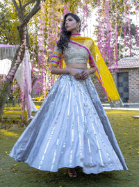Grey & Yellow Lehenga Set With Dupatta