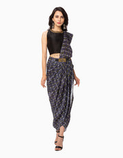 Soup By Sougat Paul-Navy Blue Saree-INDIASPOPUP.COM