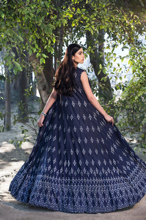 SANA BARREJA NAVY EMBELLISHED PRINTED JACKET LEHENGA SET