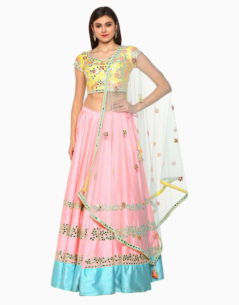 Preeti S Kapoor - Multicolor Embroidered Lehenga Set - INDIASPOPUP.COM
