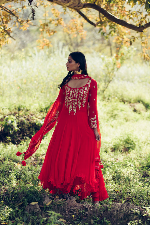 Red Kalidar Kurta With Pants