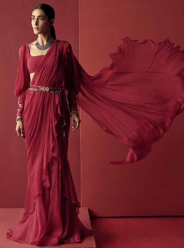 Deep Fuschia Draped Ruffle Saree
