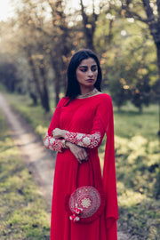 Poppy Red Long Kurta With Churidar