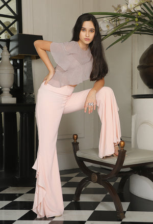 Pernia Qureshi - Pale Pink Asymmetric Ruffled Crop Top - INDIASPOPUP.COM