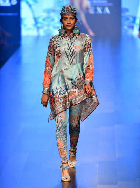 Rajdeep Ranawat-Grey & Blue Asymmetric Shirt With Leggings-INDIASPOPUP.COM