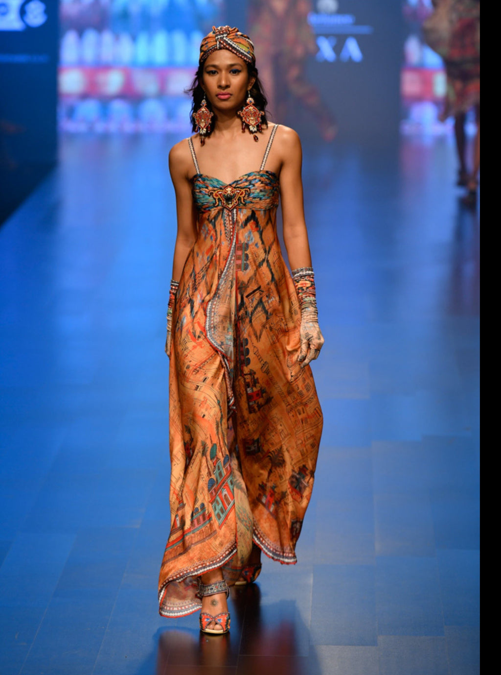 Rajdeep Ranawat-Apricot Fluted Strappy Overlap Dress-INDIASPOPUP.COM