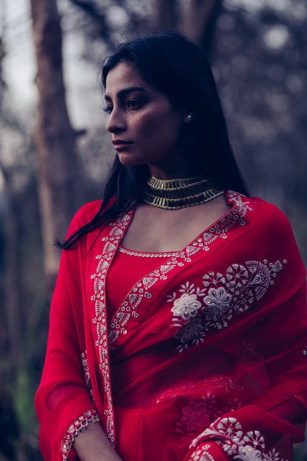 Poppy Red Saree With Blouse