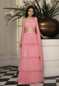 PERNIA QURESHI PINK RUCHED STRAP BLOUSE & TIERED LEHENGA SKIRT.