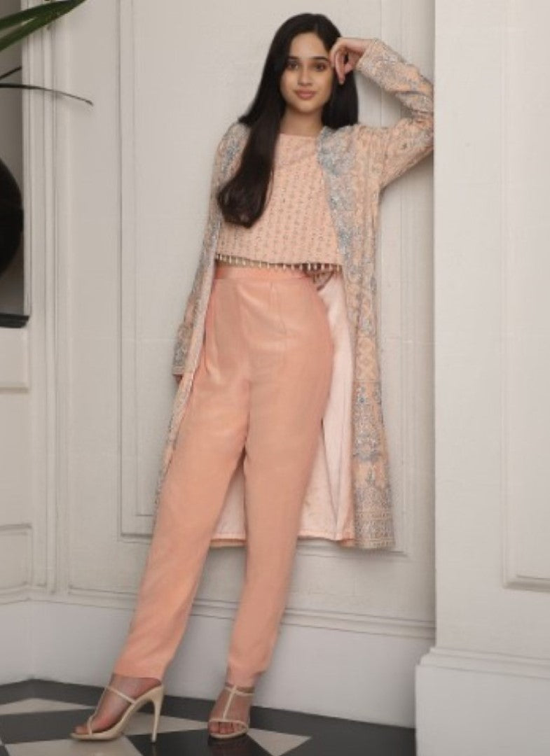 Umrao Couture - Peach Pink Jacket With Crop Top & Pants Set - INDIASPOPUP.COM