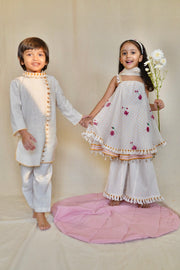 The Right Cut-White Lotus Umbrella Kurta Set-INDIASPOPUP.COM