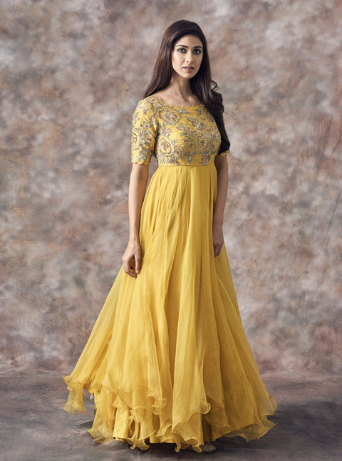 Mrunalini Rao - Yellow Sequined Anarkali - INDIASPOPUP.COM