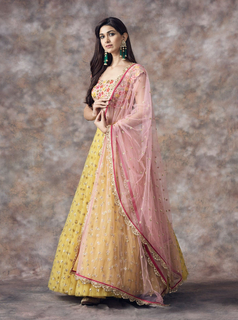 Mrunalini Rao - Yellow Floral Embroidered Lehenga Set - INDIASPOPUP.COM