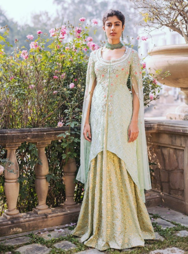 Umrao Couture - Mint Green Embroidered Lehenga Set - INDIASPOPUP.COM