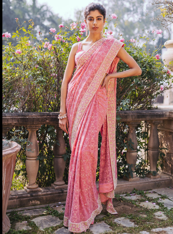 Umrao Couture - Dusty Rose Saree - INDIASPOPUP.COM