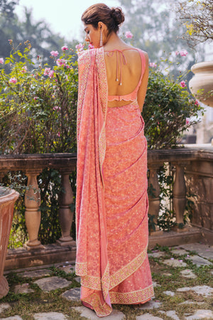 UMRAO COUTURE DUSTY ROSE SAREE