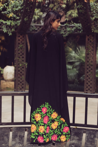 Black Floral Embroidered Kaftan