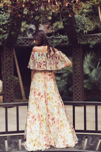 AMAIRA IVORY FLORAL PRINTED CROP TOP & SKIRT SET