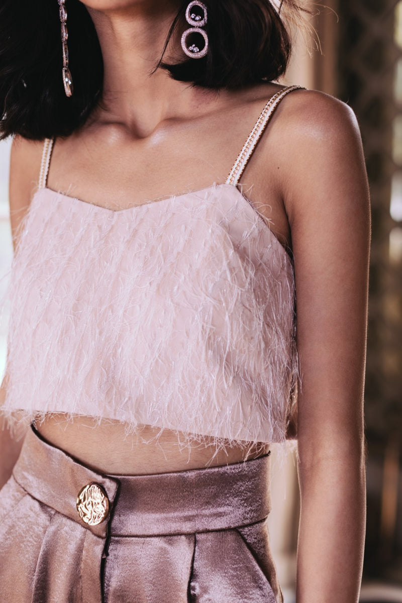 Pernia Qureshi - Peach Feather Top With Gold Chain Strap - INDIASPOPUP.COM