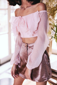 Pernia Qureshi - Pink Off Shoulder Ruffle Top - INDIASPOPUP.COM